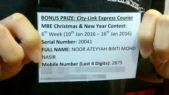 BONUS PRIZE Winner: City-Link Sponsored Grand Prize Winner
